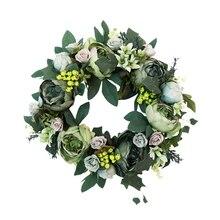 Искусственный Пион венок зеленый цветок дверь венок с зелеными листьями венок для передней двери декор Свадебные стены украшение дома