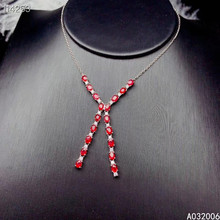 KJJEAXCMY fine jewelry 925 Silver inlaid Natural ruby Gemstone trendy necklace ladies pendant support check цена 2017