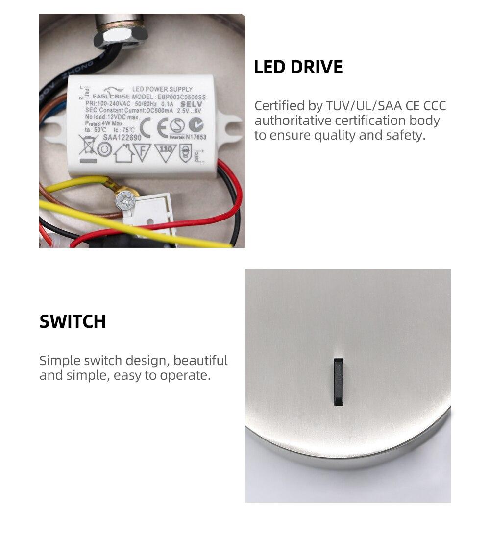 rotação de alumínio cree chip 3w 85-265v montado wandlamp