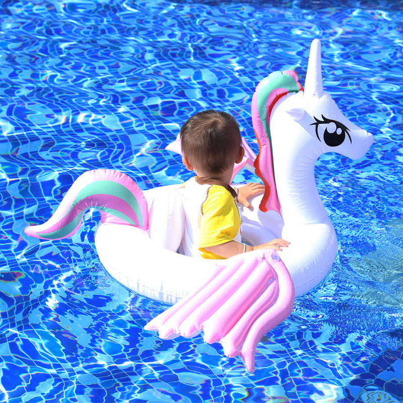 2020 New Baby Inflatable Rainbow Unicorn Pool Float Ride-On Pegasus / Horse Swimming Seat For Children Floating Island Water Toy