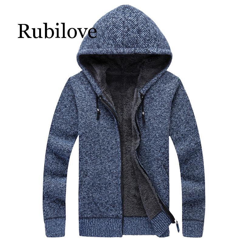 Rubilove Winter Men Jacket Thick Velvet Cotton Hooded Fur Jacket Men's Winter Padded Knitted Sweater Cardigan Spring Outdoors