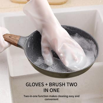 Rękawice szczotkowe para zmywania naczyń rękawice do sprzątania magiczna gumowa rękawica do mycia do szorowania domowego narzędzie czyszczące do kuchni peeling tanie i dobre opinie Houkiper 100-140g Do mycia naczyń Anti-scald Cleaning Gloves Other
