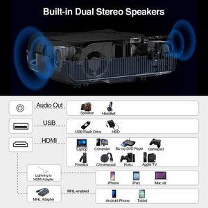 Проекторы 900D Full HD 1080P lcd 1920x1080 с поддержкой 4K для домашнего кинотеатра, игрового уличного кинотеатра с Bluetooth HDMI USB