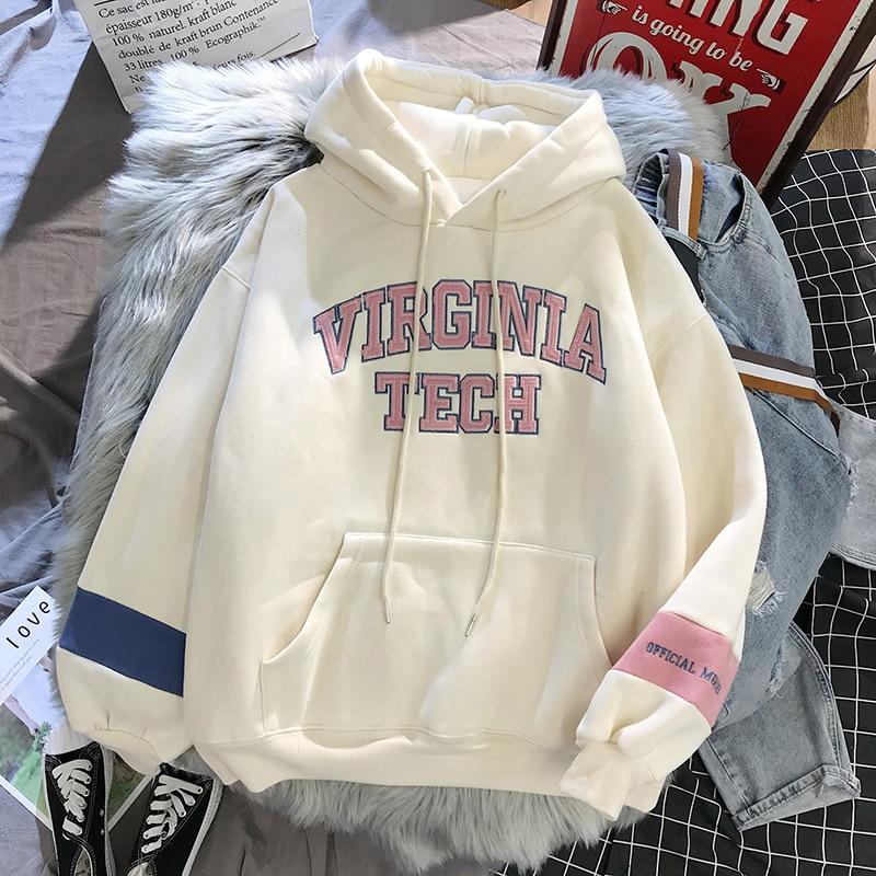 oversized Hoodies Women Thicker Letter Warm Pullover Coat Drawstring Harajuku Sweatshirt Pink Womens Korean New High Quality 14