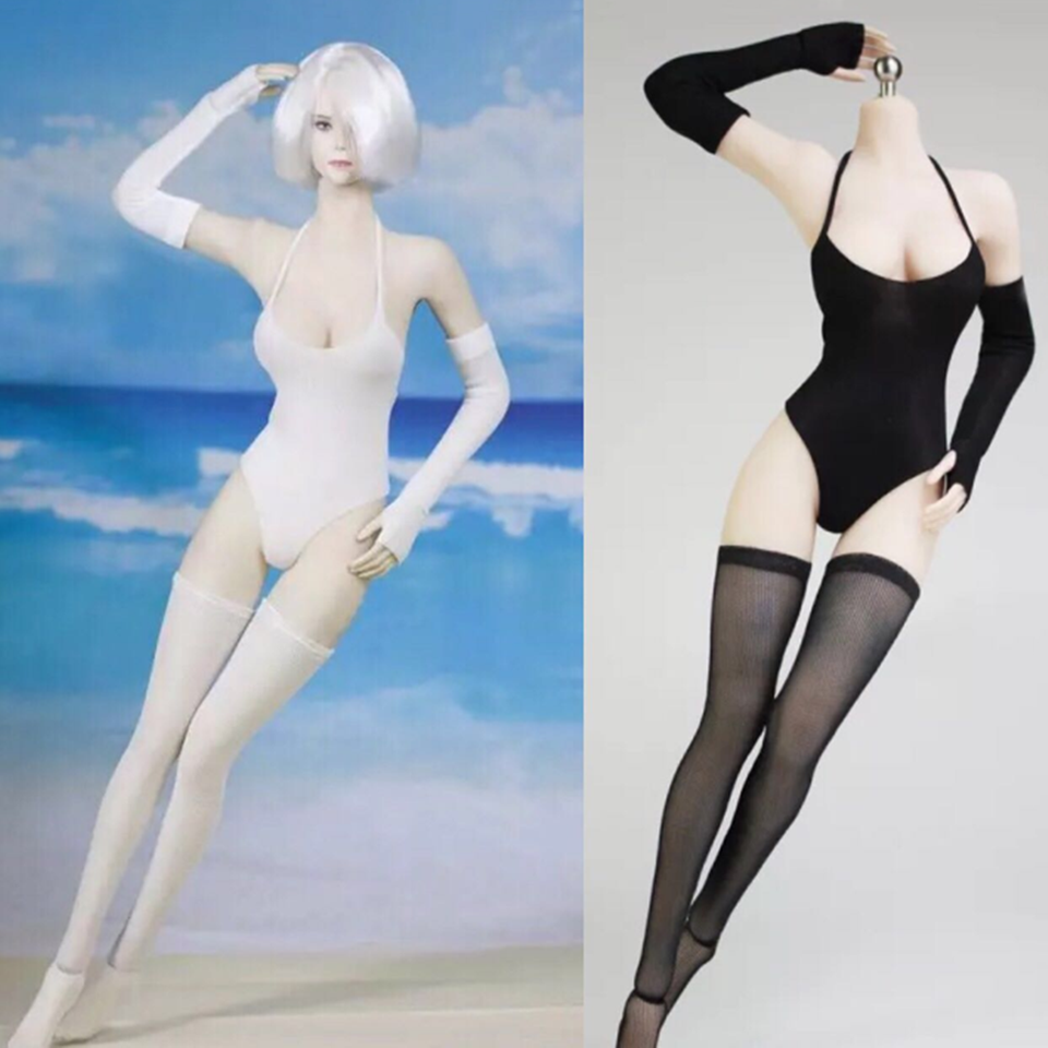 1//6 Black Swimsuit Underwear Gloves Stockings Fit 12/'/' Big Bust Figure Body