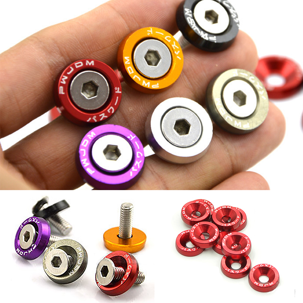 10Pcs M6x20 Car Anodized Washers Modification JDM Sticker Stickers Password Fender Washer License Plate Bolts Auto Accessaries