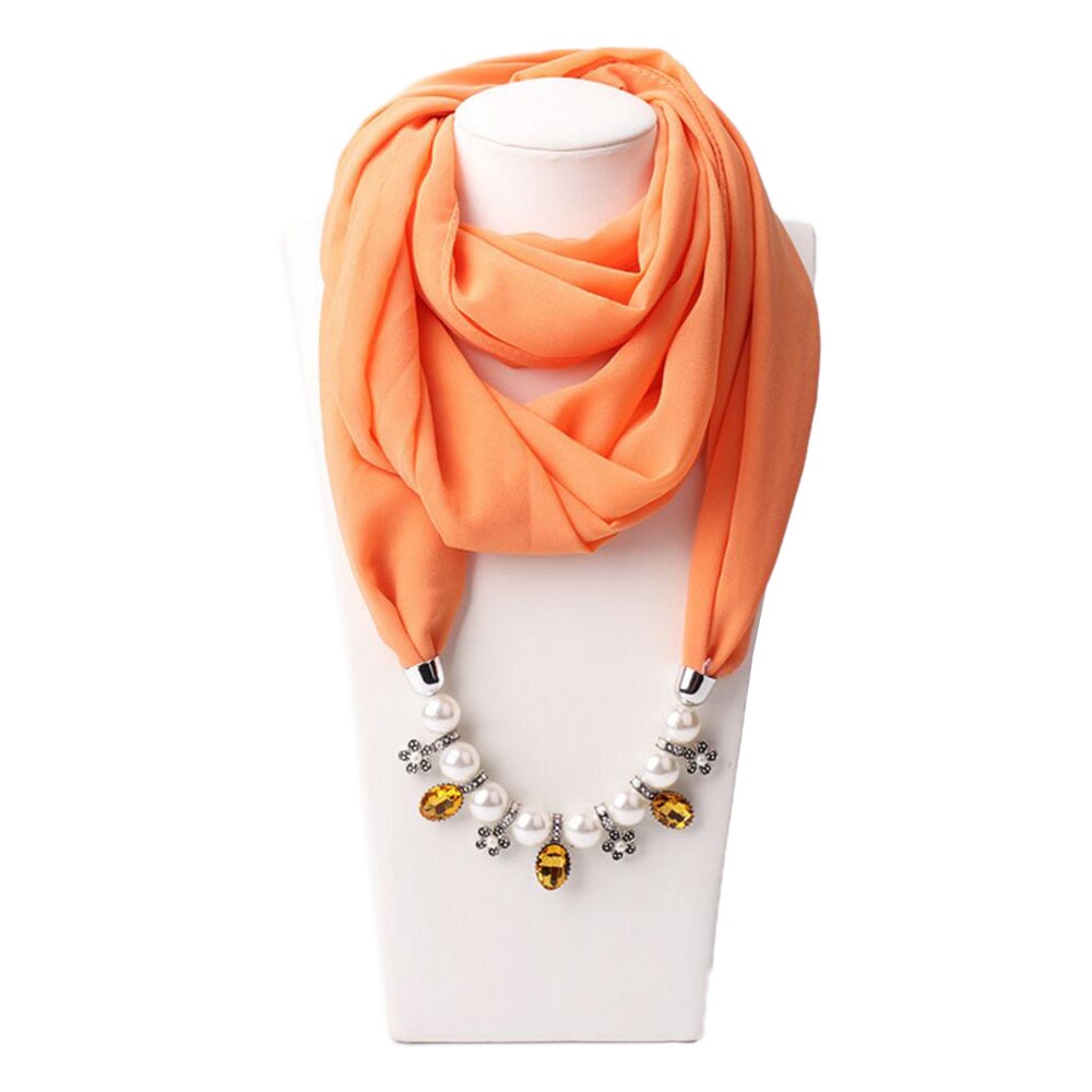 plain chiffon scarf jewelry pendant fashion pearl scarves jewelry muslim hijab shawls necklaces coverchief babushka