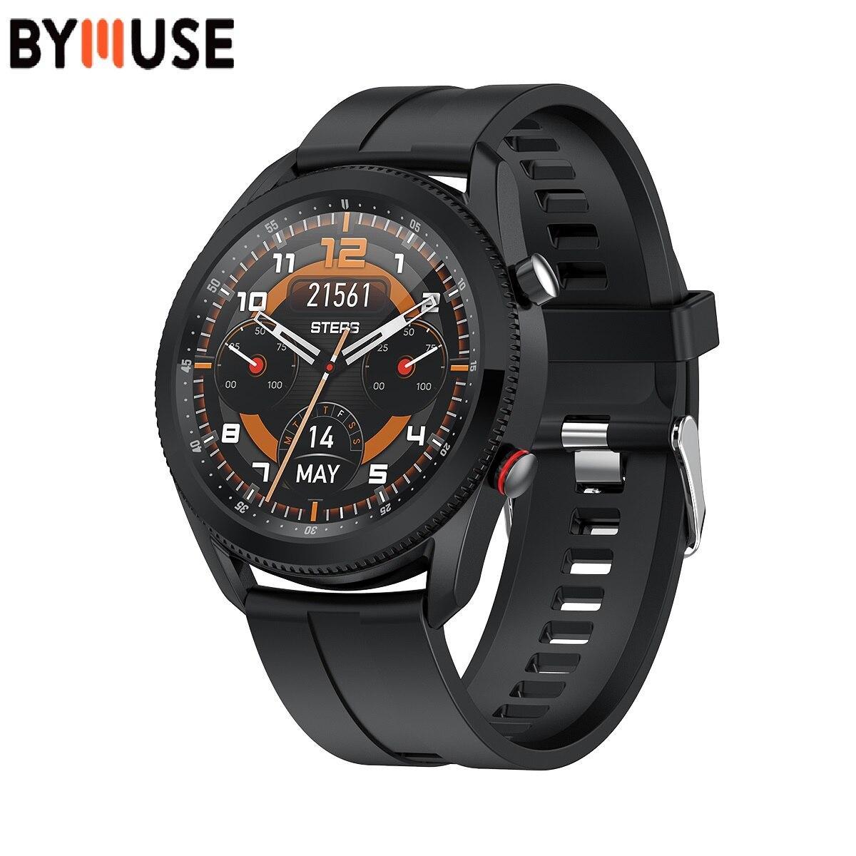 Смарт-часы BYMUSE L61, BT, мужской циферблат, поворот для переключения функций, 1,28 дюйма, Смарт-часы, IP67, водонепроницаемые, для телефонов Xiaomi Redmi