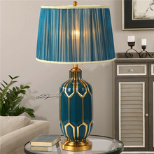 French Country Table Lamp Chinese Classical Lamp Table Lamps for Bedroom Lamps for Living Room Blue Ceramic Fabric Desk Light цена 2017