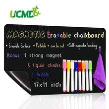 """Tableau noir magnétique de 17*11 """"pour réfrigérateur de cuisine, planche noire personnalisée, Blackboard, avec 8 marqueurs magnétiques"""