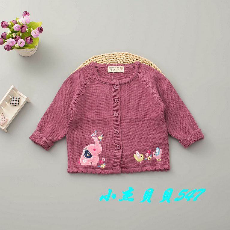 New Style GIRL'S Sweater Coat Autumn Small CHILDREN'S Pure Cotton Sweater Cardigan Embroidery Fashion Pure Cotton Air Conditione