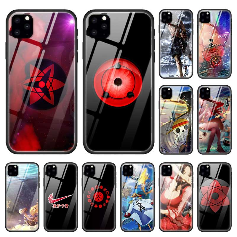 Naruto <font><b>Logo</b></font> One Piece <font><b>Cases</b></font> for Apple <font><b>iphone</b></font> 11 Pro XR XS Max X 7 8 6 <font><b>6S</b></font> Plus 11Pro Tempered Glass Fundas Capa Phone Cover Coque image
