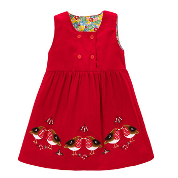 Jumping Meters  Children Girls Spring Autumn Dress Corduroy Clothes O-neck Cotton Patchwork Birds Embroidery Casual Vest Dresses