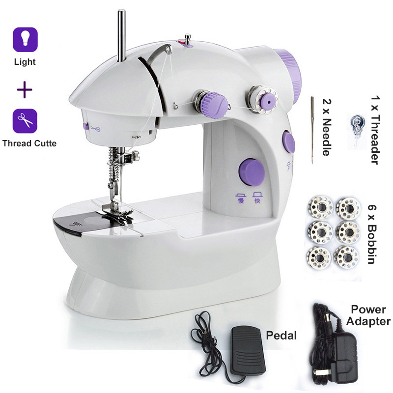 Mini Sewing Machine with Light Portable Handheld Electric Desktop Clothes Fabrics for Beginner Household Tailor EU/US/UK/AU Plug image