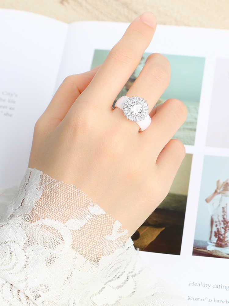 Mode Braut Schmuck Sets Für Frauen Zubehör Cubic Zirkon Kristall Hearlthy Keramik Ringe Stud Ohrringe Set Weihnachten Geschenk