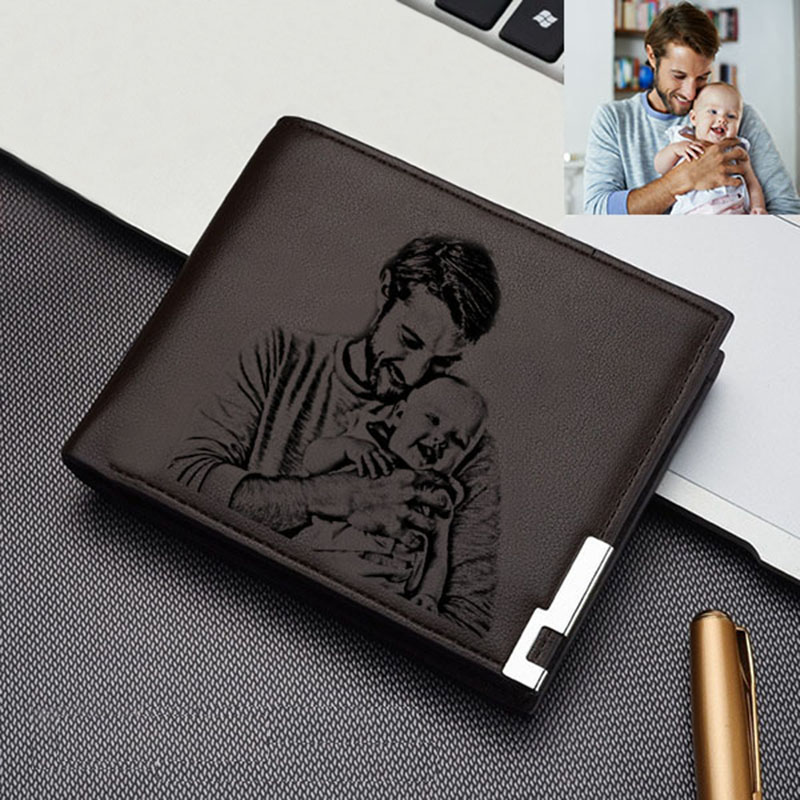 Custom Engraving Photo Wallet Men's Short Simple Thin Section Solid Color Iron Edge Multi Card Wallet DIY Holiday Gift