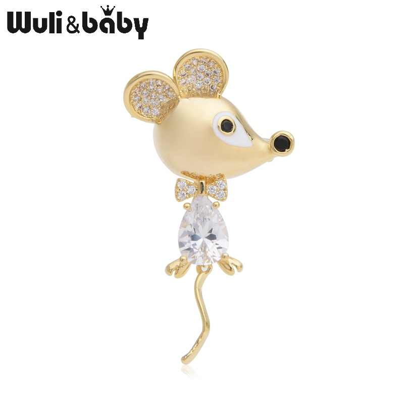 Wuli&baby Czech Zircon Rat Mouse Brooches Women Men Rhinestone Animal Brooch Pins Fashion Gifts