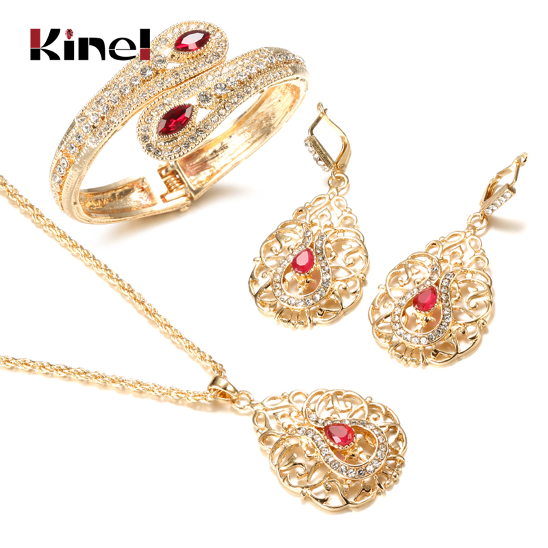Kinel Luxury Morocco Wedding Jewelry Set Gold Color Drop Earring Cuff Bracelet Bangle Pendant Necklace Arab Hollow Metal Gift