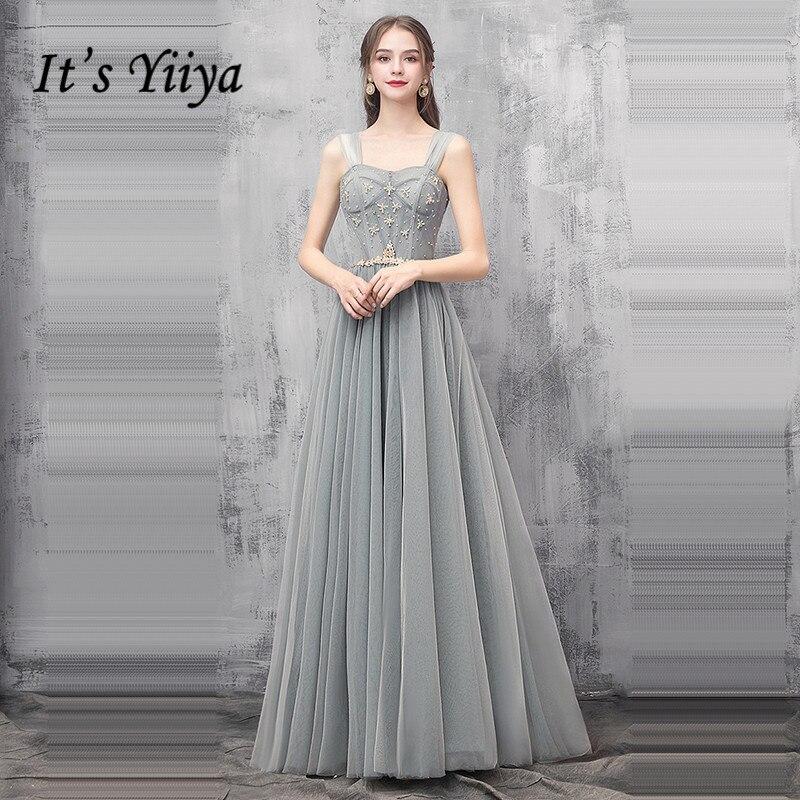 It's Yiiya Bridesmaid Dress For Girls Sleeveless Plus Size A-Line Tulle Bridesmaid Dress Sling Sequined Vestido Madrinha K364