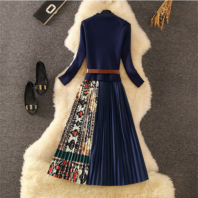Elegant Knitted Patchwork Pleated Midi Dress 2019 Fall Winter Fashion Women Long Sleeve Ethnic Retro Printing Pleated Dress 3