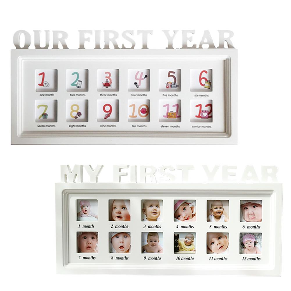Innovative Baby Album Photo Frame 12 Month Growth Dust-proof Wooden Frame For Wall Hanging Table