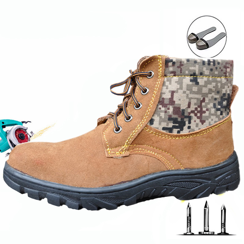 Labor insurance shoes winter warm anti-mite puncture men boots steel toe cap cold work cotton shoes wear waterproof safety shoes image