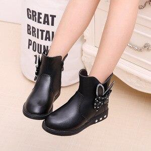 Image 4 - Zapatos para niños botas para niñas Otoño e Invierno 2019 nuevas botas de princesa arco más terciopelo cálido algodón niños botas de nieve zapatos para niñas