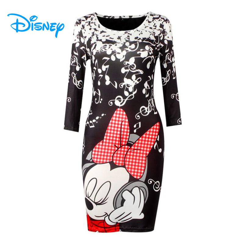 Disney Minnie Mouse Dress Mickey Women Lady <font><b>Girls</b></font> Summer <font><b>Sexy</b></font> Bodycon Bandage O-Neck Party Club Mini Pencil Dresses Vestidos image