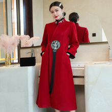 Outono e inverno 2020 jovem vestido feminino vermelho casaco feminino longo casaco de lã feminino