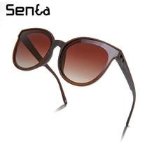 Acetate round cat eye woman shades sunglasses polarized UV400 2021 trend fashion luxury brand designer decorative glasses brown