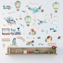 Stickers muraux avec ballon à Air chaud, Stickers dessin animé Train et Train, peinture à la main, pour décoration pour chambre d'enfant