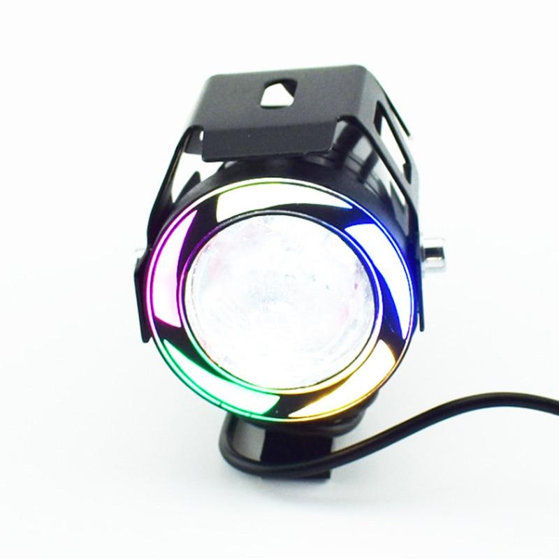 cheapest Motorcycle LED Headlight U7 Moto lights for scooter motorbike Fog Lamp Angel Devil eyes LED External Flashing warning Light 12V