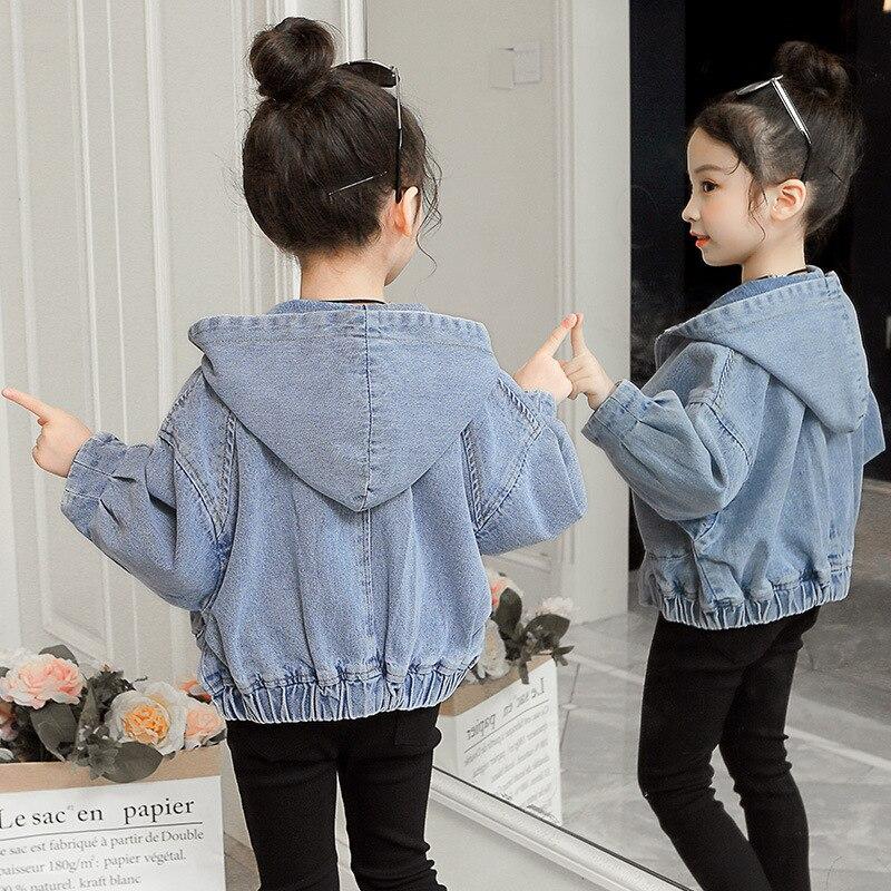 4-12Y Girls Denim Jackets 2019 Spring Autumn Children Outwear Jeans Coat for Kids Patchwork Hooded
