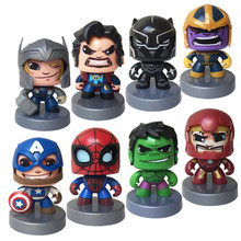 Disney Marvel Toys 11CM Avengers Cute Iron Spider Man hulk Thor Figure Change Face Action Figure Collection Model Toys for Kids