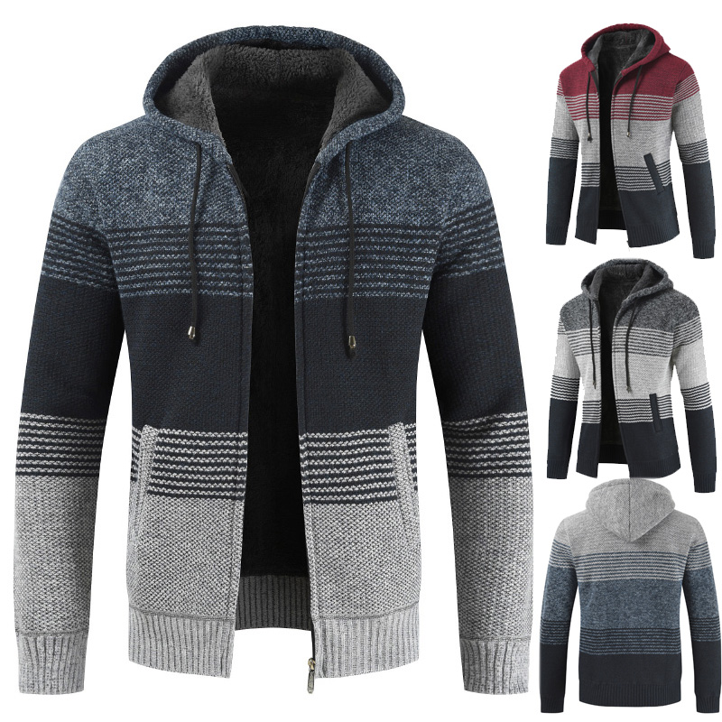 Riinr Sweater Coat Men 2019 Winter Thick Warm Hooded Cardigan Jumpers Men Striped Cotton Wool Liner Zipper Fleece Coats Men