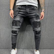 Homens rasgado calças de brim magros alta qualidade preto retalhos motociclista lápis locomotiva calças denim ruas hip hop calças cowboy