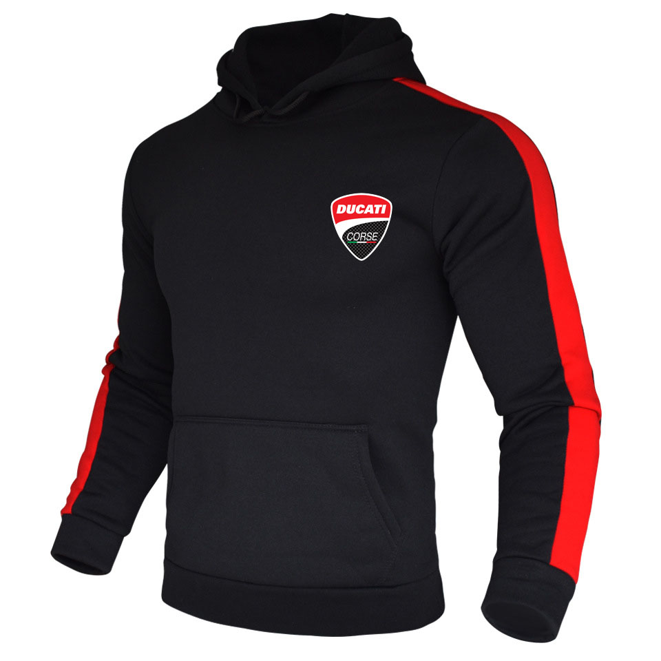 Men Ducati Corse Two-Tone Hoodie For Motocycle Fan Long Sleeve Sweatshirt