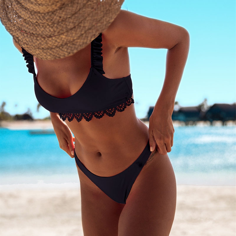 Sexy Black Woman Micro Print Swimsuit Push Up Bikini Set Brazilian Bikini Swimwear Women Female Thong Bikinis Beachwear 2020