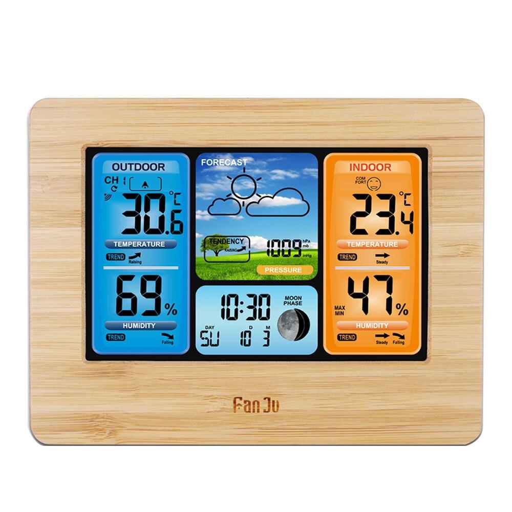 Новый FJ3373Type Погодная станция цифровой термометр беспроводной датчик гигрометра прогноз температуры Часы настенные настольные будильник Приборы для измерения температуры      АлиЭкспресс