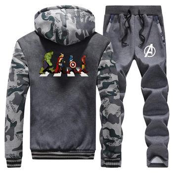 2020 w nowym stylu Avenger Road Superhero płaszcz + spodnie dresowe męskie zimowe grube męskie bluzy z kapturem śmieszne Streetwear dres 2 sztuka garnitur mężczyzna