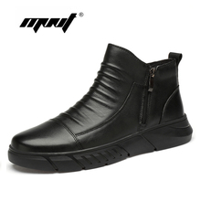 Plus Size Men Winter Shoes Plush Warm Snow Boots Outdoor Natural Leather Waterproof Ankle