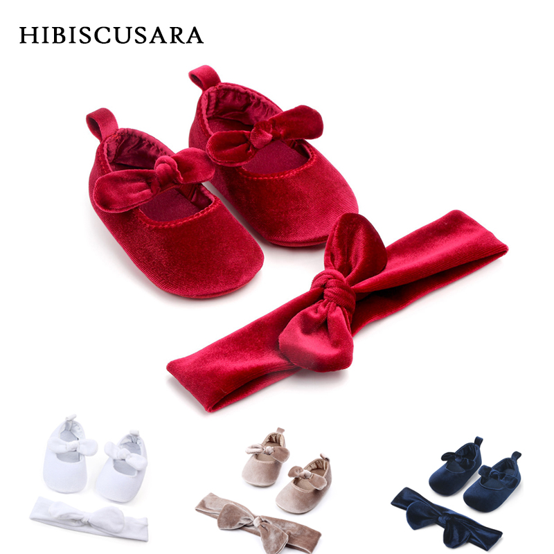 Soft Bottom Baby First Walkers Velvet Toddler Girl Fashion Bebe Moccasin Newborn Infant Shoes Prewalkers With Headband