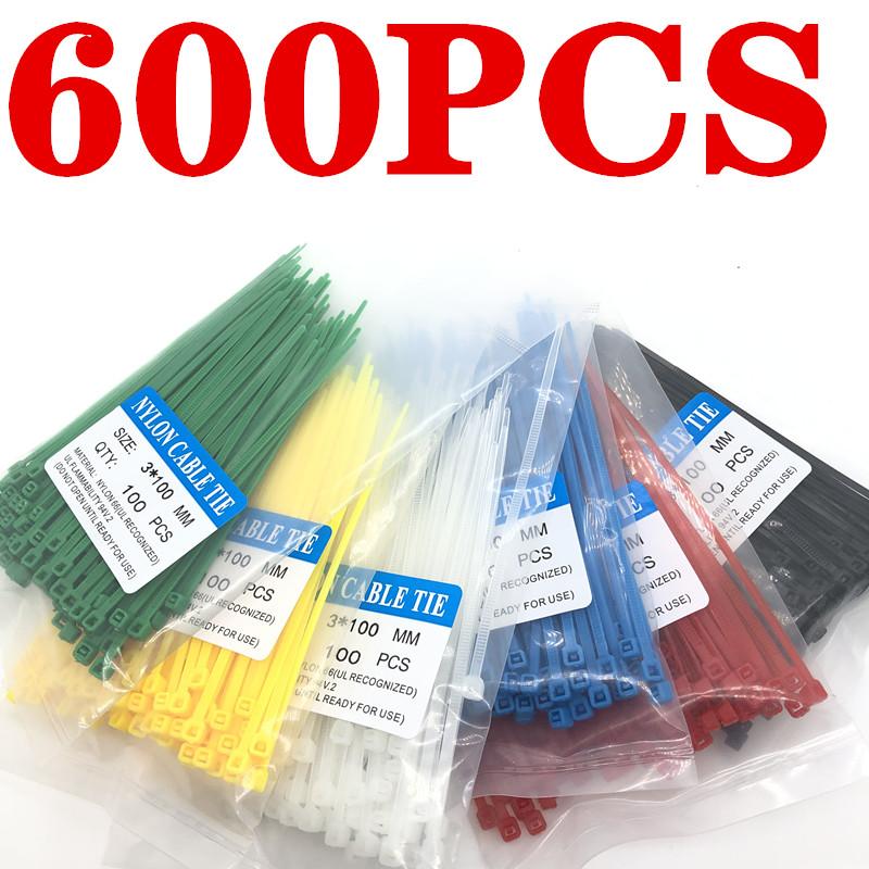 600Pcs Zip Ties 3x100mm Nylon Self-Locking Cable Ties Color Plastic Zip Ties Velcro Cable Ties Cable Organizer Wire Strap