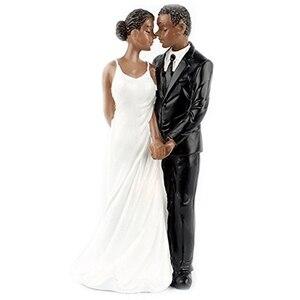 Лучший свадебный торт Топпер из смолы афро-американская Пара Статуэтка центральные украшения для свадьбы годовщина черный голень Cou