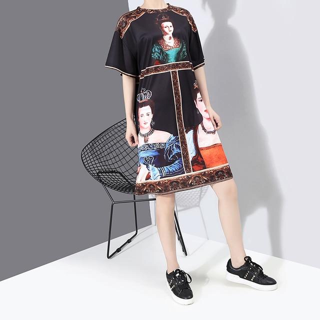 New 2020 Korean Style Women Summer Black Dress Printed Ladies Plus Size Casual Straight Midi Dress Cute Wear Robe Femme 6001 8