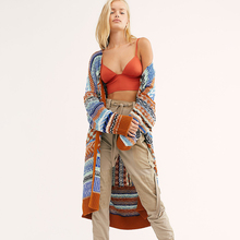 KHALEE YOSE Colorful Knit Cardi Sweater Thick Stripe Autumn Winter Sweater Cardigan Women Open Front Knitted Boho Long Cardigan multi stripe open knit tee