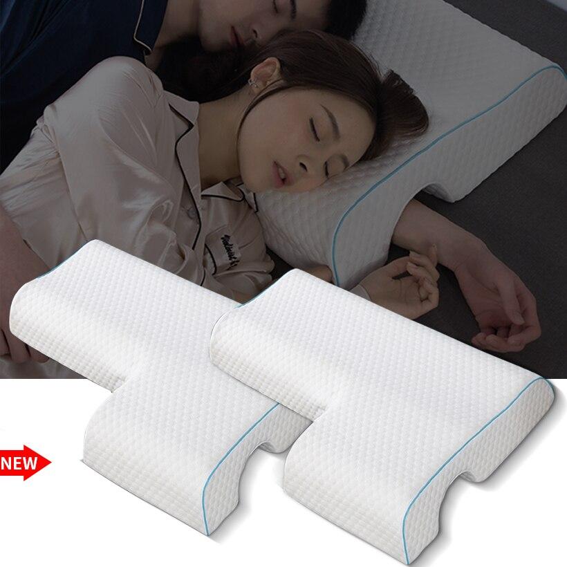 Qczx espuma de memória travesseiro de cama lenta pressão rebote travesseiro saúde pescoço casal travesseiro multifunções anti-pressão mão travesseiro