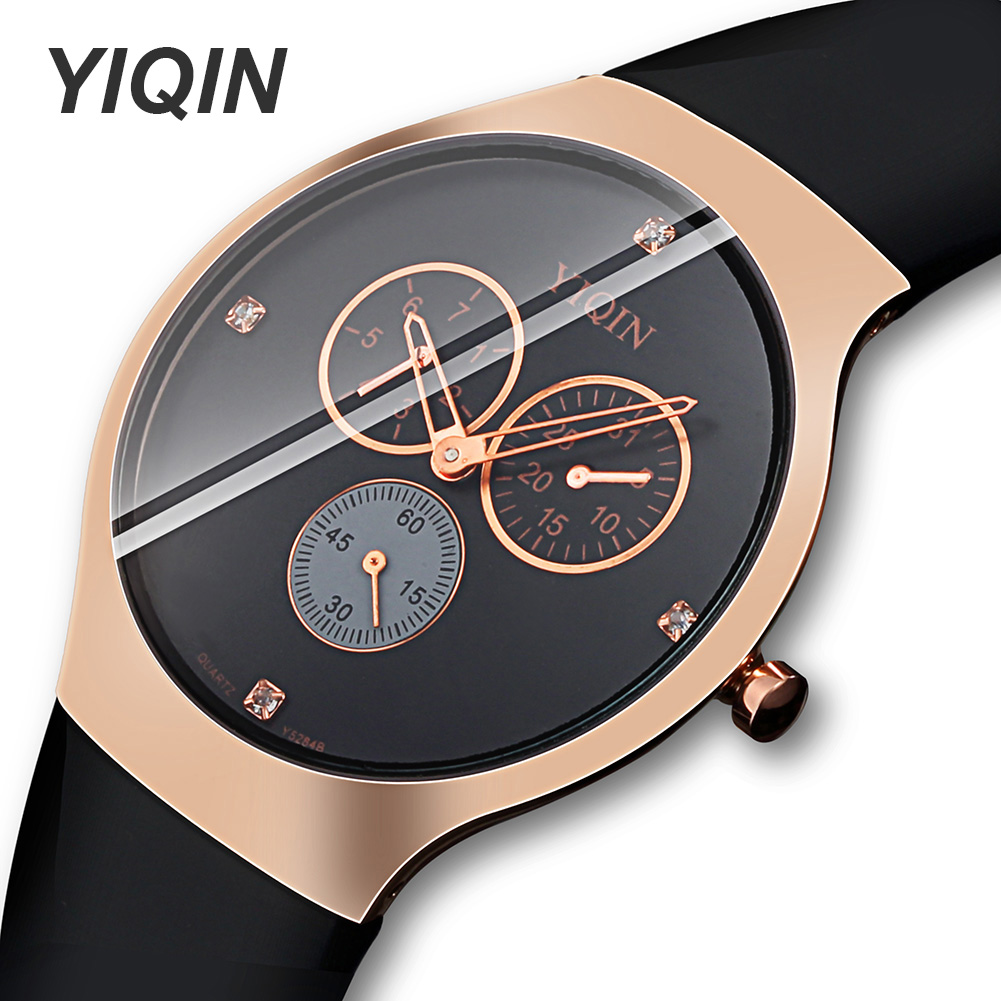 Fashion Luxury Quartz Wristwatches Black Women Waterproof Watch Female Clock Rubber Men Fitness Wrist Watches Diamond Dial Watch