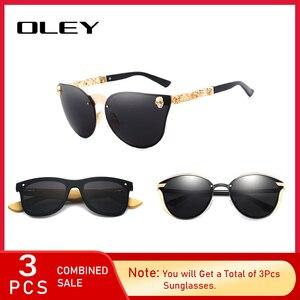 3 шт комбинированная продажа OLEY фирменный дизайн Солнцезащитные очки женские зеркальные линзы 100% УФ Защита черный