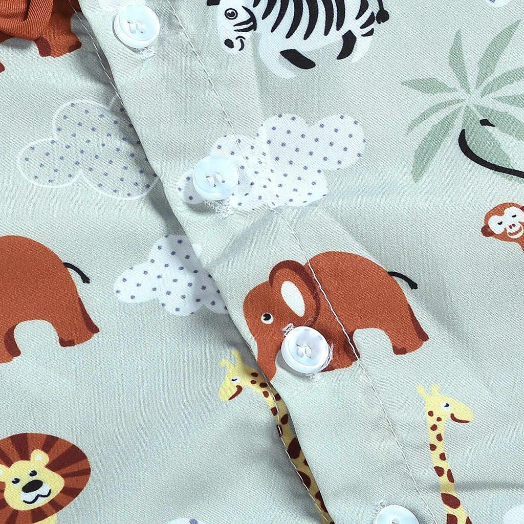 Toddler Kids Baby Boy Clothing Set Short Sleeve Cartoon Animal Print Shirt Tops Shorts Pant Bottom 2PCS Children Clothes 2019